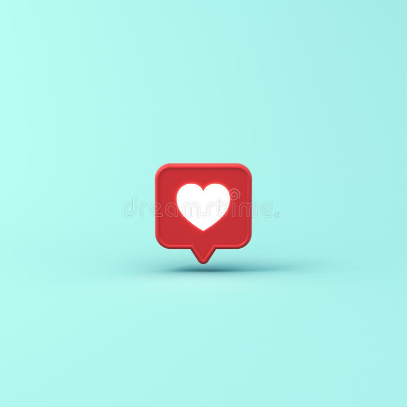 3d social media notification neon light like heart icon in red speech bubble pin isolated on blue pastel color background royalty free illustration