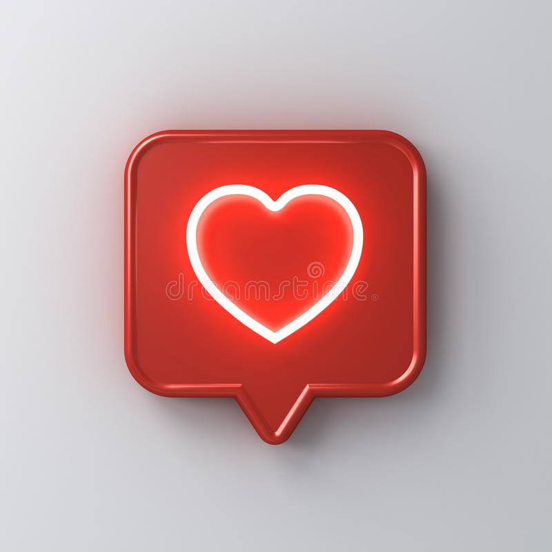 3d social media notification neon light love like heart icon in red rounded square pin isolated on white wall background royalty free illustration