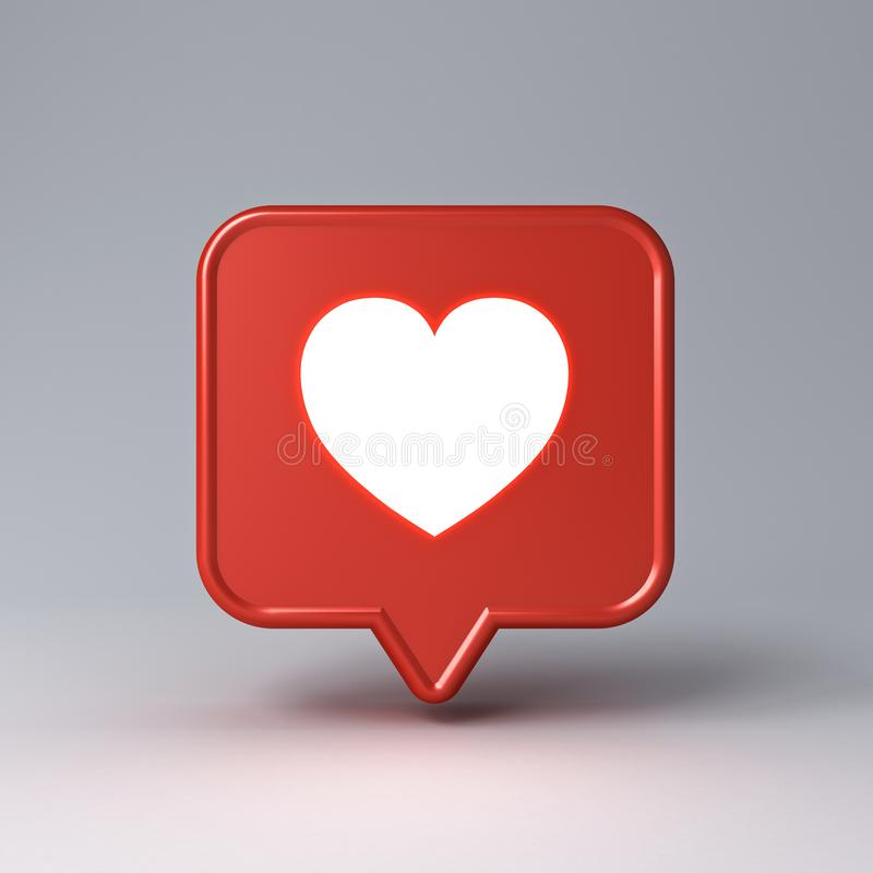 3d social media notification neon light love like heart icon in red speech bubble pin isolated on dark white background royalty free stock photos