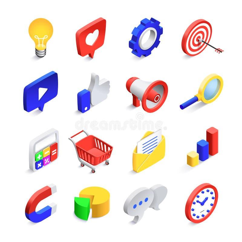 3d sociale marketing pictogrammen Isometrische Webseo houdt van teken, bedrijfspostnetwerk en de knoop vectorpictogram van het we stock illustratie