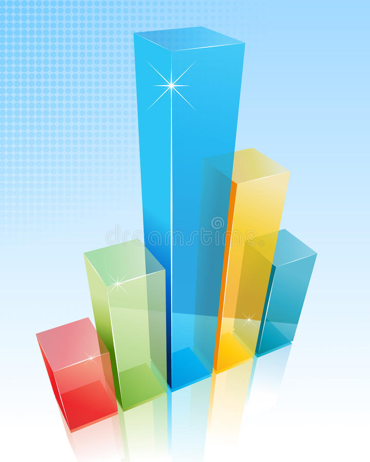 A 3d soft colored business chart on transparent bue background stock illustration