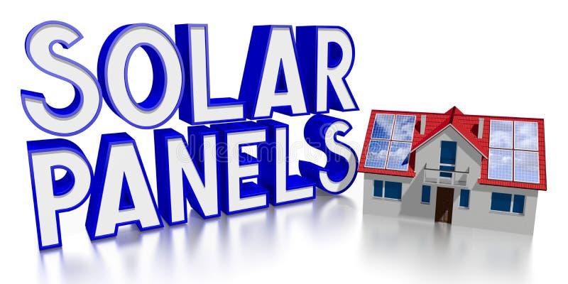 3D solar panels concept, family house stock illustration