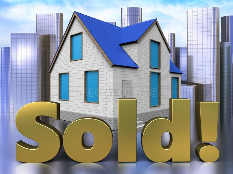 3d sold sign over city vector illustration