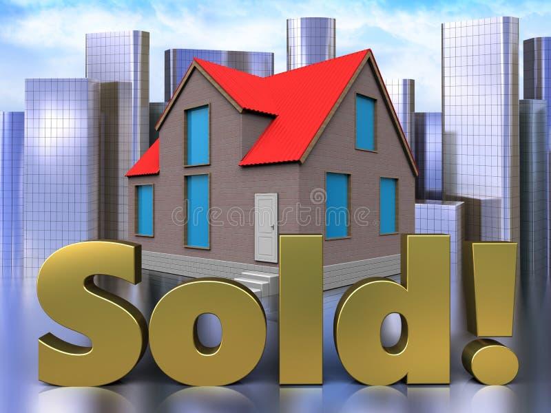 3d sold sign over city vector illustration