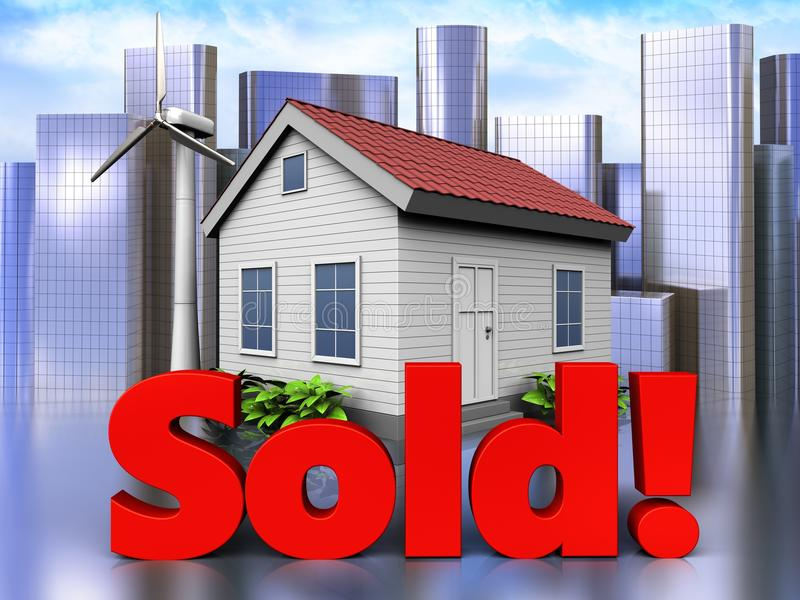 3d sold sign over city. 3d illustration of wind energy house with sold sign over city background royalty free illustration