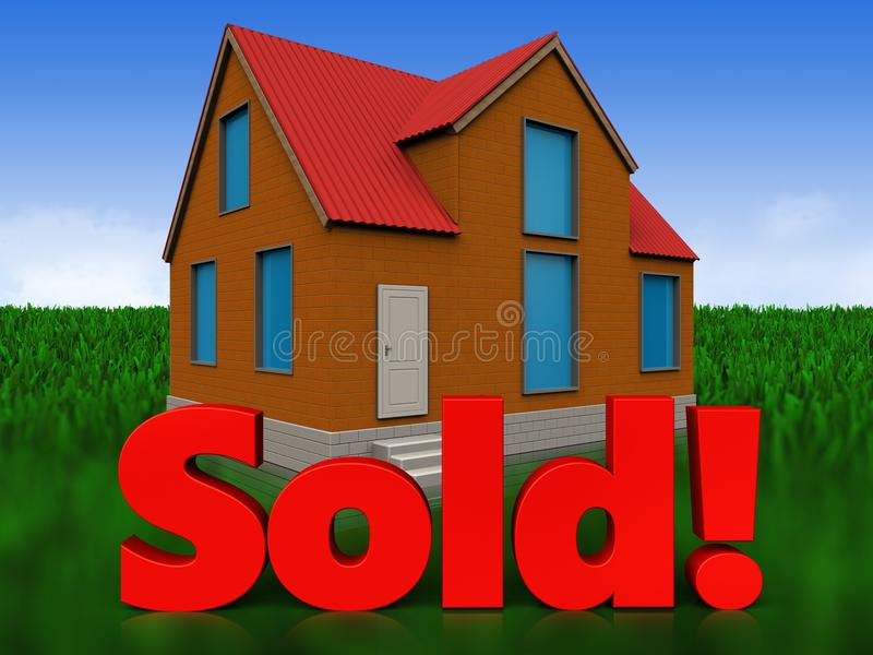 3d sold sign over meadow stock illustration