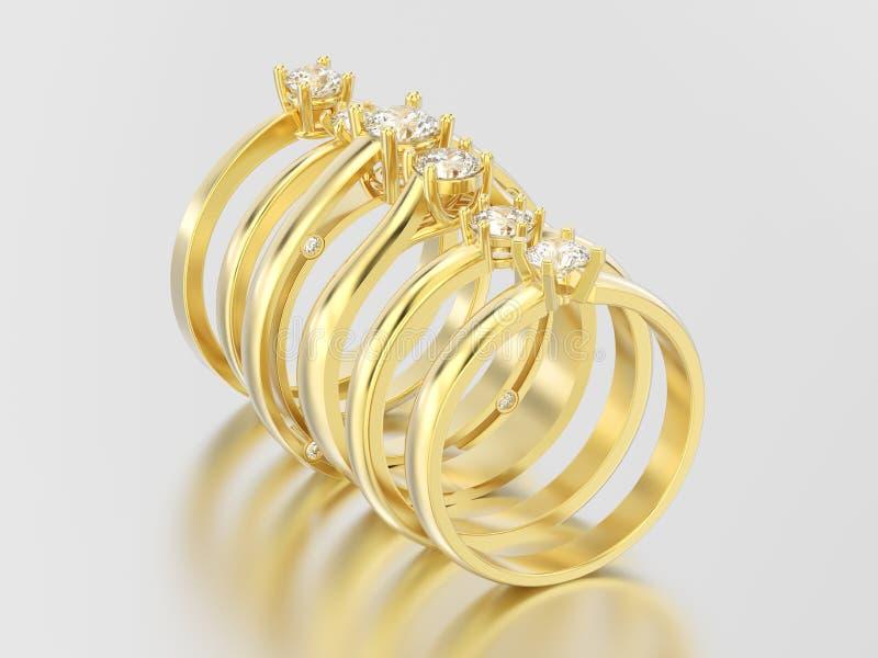 3D solitario tradizionale differente dell'oro giallo dell'illustrazione cinque illustrazione di stock
