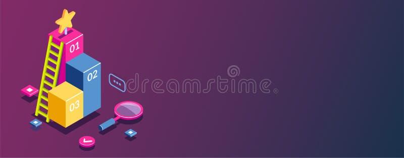 3d som är infographic för rengöringsdukmall Plan isometrisk vektorillustration stock illustrationer
