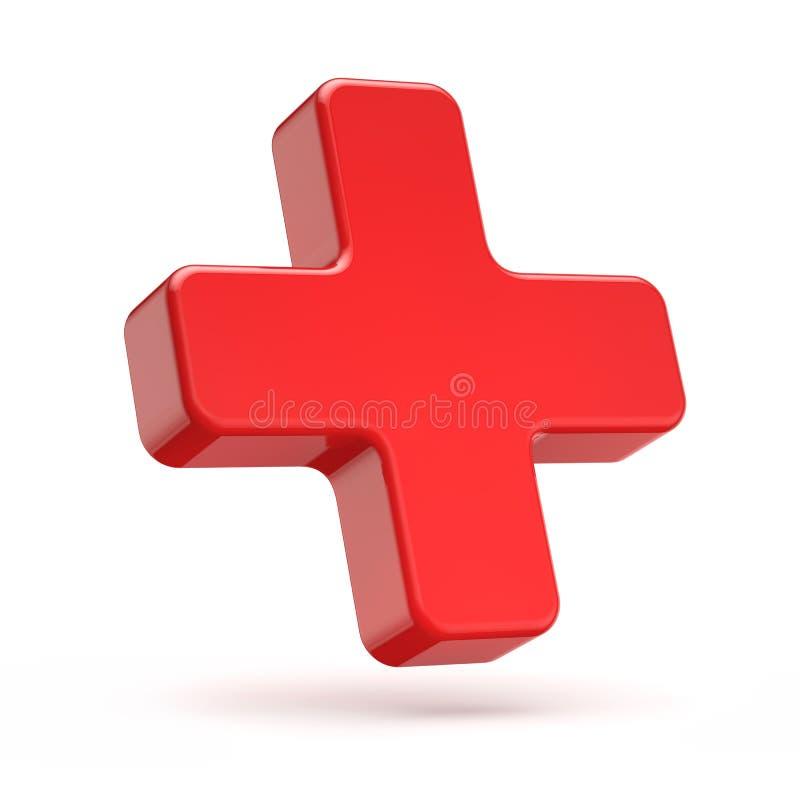 3d som är röd plus symbol vektor illustrationer