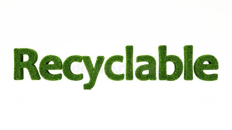 3D som framför ÅTERANVÄNDBART ord gjort av grönt gräs stock illustrationer