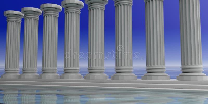 3d som framför åtta vita marmorpelare vektor illustrationer