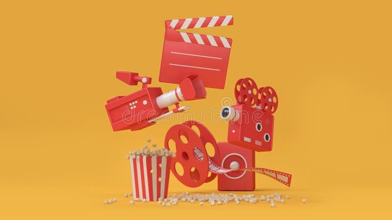 3d som framför abstrakt bakgrund av denbio beståndsdelfilmen, bio, underhållningbegrepp vektor illustrationer