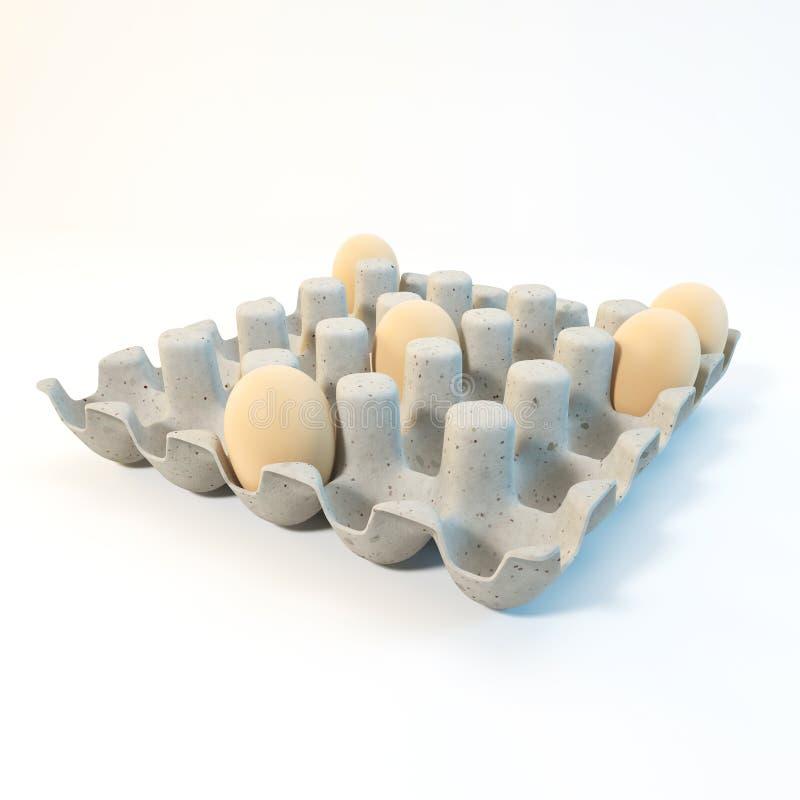 3d som framför bruna ägg i en lådapacke royaltyfri fotografi