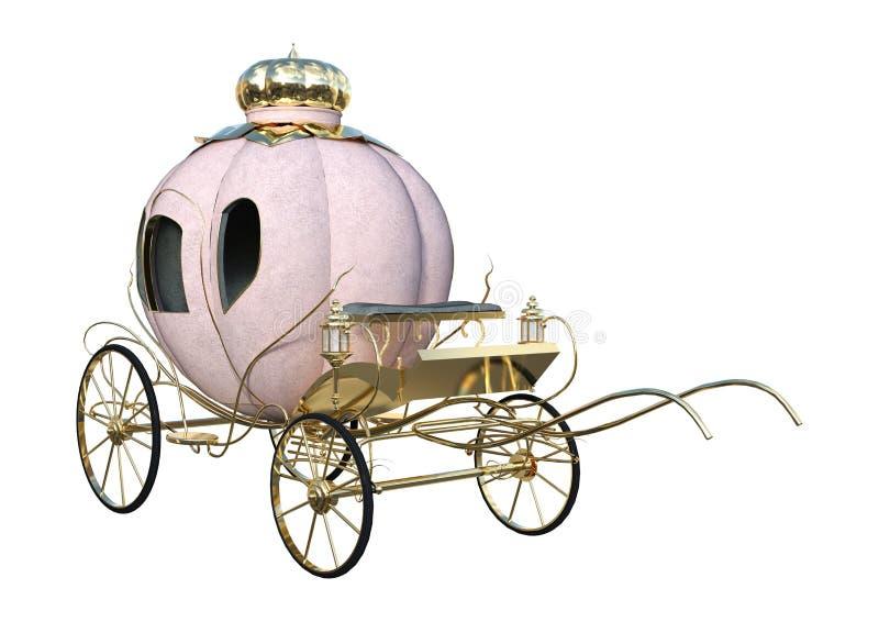3D som framför Cinderella Carriage på vit royaltyfri foto
