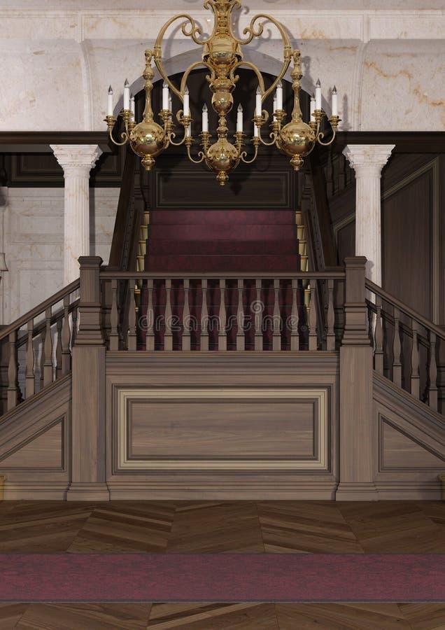 3D som framför den barocka farstun royaltyfri illustrationer