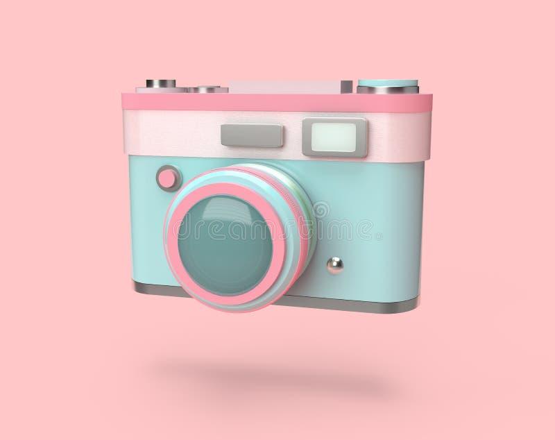3d som framför den färgrika pastellfärgade kameran vektor illustrationer