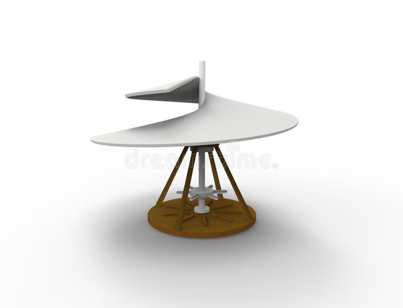3d som framför den flyg- skruven för Leonardo Da Vinci airscrew isolerad i vit vektor illustrationer
