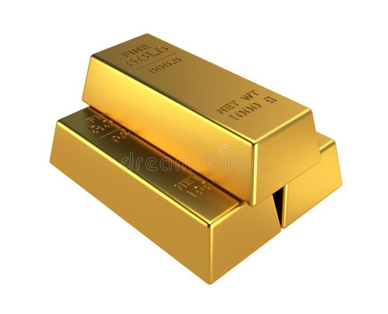 3D som framför den guld- stången royaltyfri illustrationer