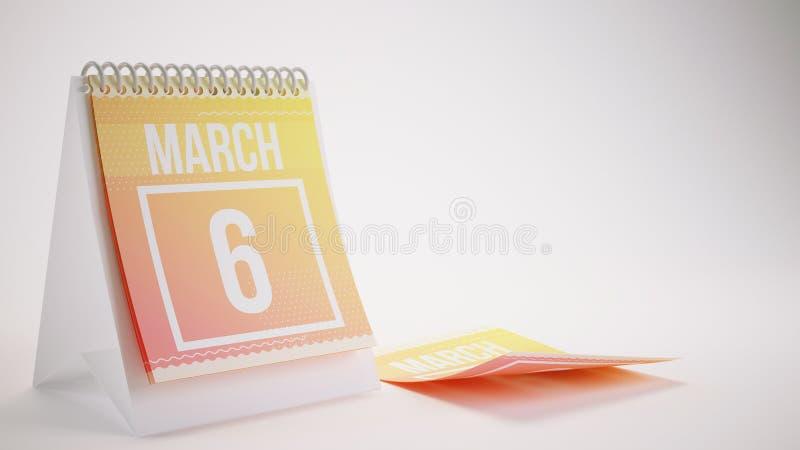 3D som framför den moderiktiga färgkalendern på vit bakgrund - marsch stock illustrationer
