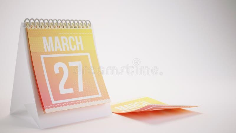 3D som framför den moderiktiga färgkalendern på vit bakgrund - marsch vektor illustrationer