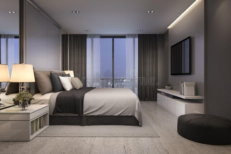 3d som framför det moderna lyxiga sovrumföljet på natten med hemtrevlig design royaltyfri illustrationer