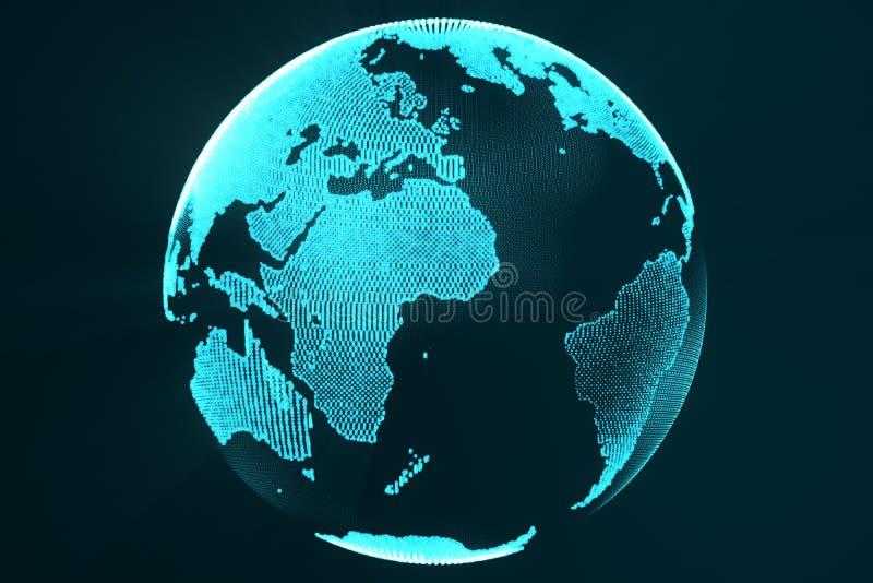 3d som framför digitalt jordhologrambegrepp Teknologibild av futuristisk färg för jordklotblått med ljusa strålar royaltyfri illustrationer
