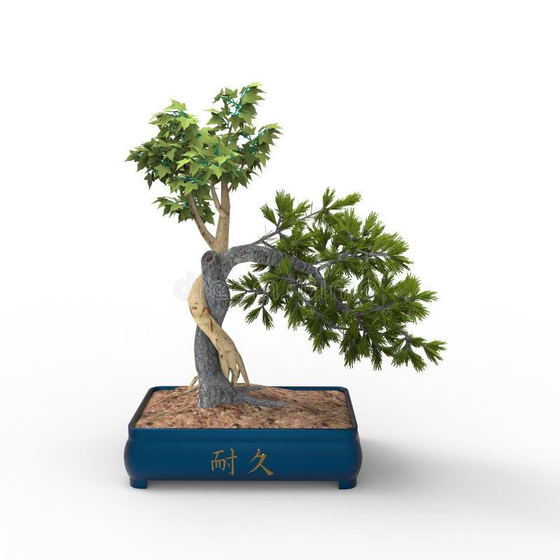 3d som framför en bonsai skapad, genom att använda ett blandarehjälpmedel Bonsai för realist 3d stock illustrationer