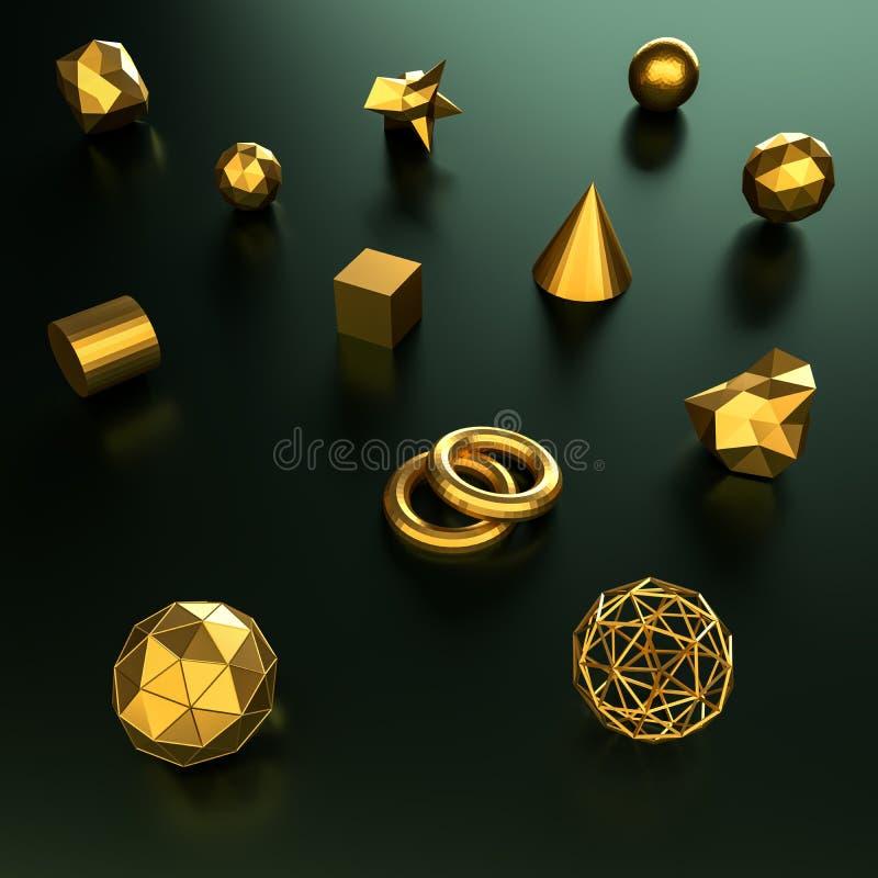 3d som framför färgbakgrund och textur för geometri guld- arkivbild