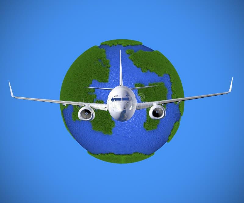 3D som framför flygplan, flyger runt om planetjorden stock illustrationer