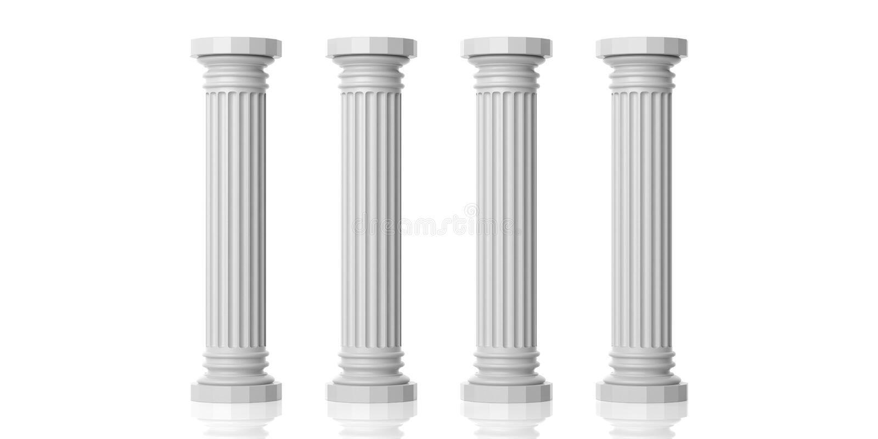 3d som framför fyra vita marmorpelare royaltyfri foto