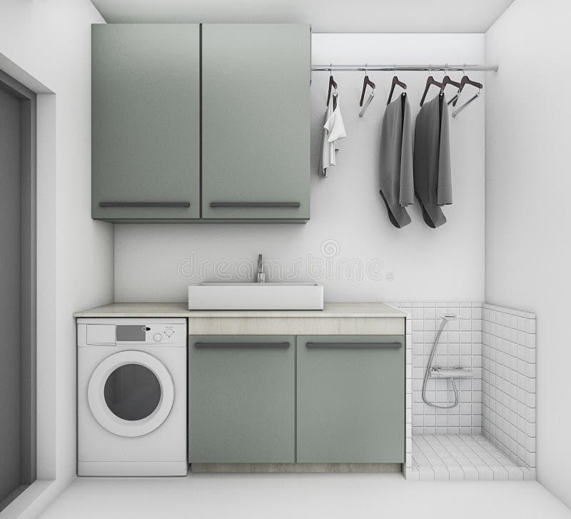 3d som framför härlig tvättstuga med rent villkor royaltyfri illustrationer