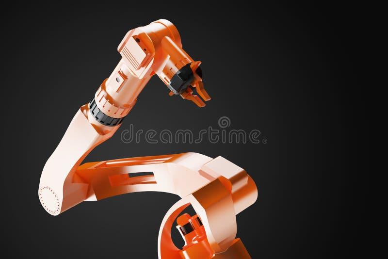 3D som framför - illustrationen av industriella svetsningsrobotar i robotic produktionslinjeproducentfabrik - nära sikt stock illustrationer