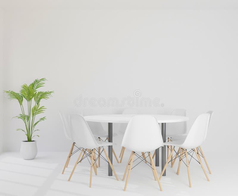 3D som framför mötesrum med stolar, den runda plast- tabellen och trädet stock illustrationer