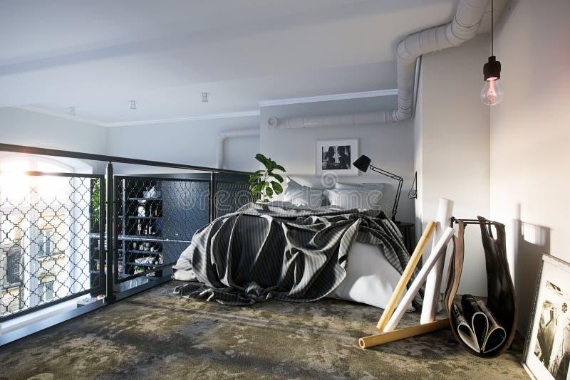 3D som framför modern planlagd beedroom för golv för par andra full - sikt vektor illustrationer