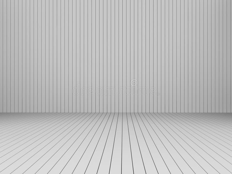 3D som framför moderna vita slats vägg och golvet, inre illustr stock illustrationer