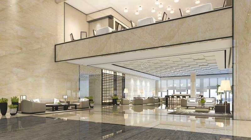 3d som framför mottagandekorridoren för lyxigt hotell och vardagsrumrestaurangen vektor illustrationer