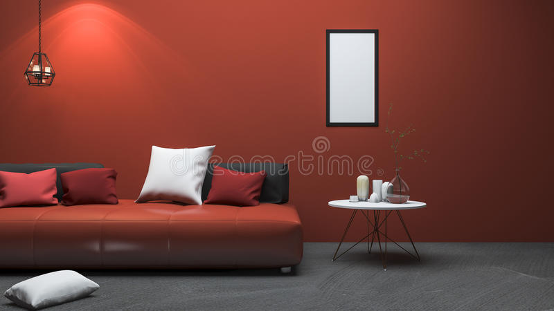 3d som framför röd modern stilvardagsrum med den trevliga dekoren stock illustrationer