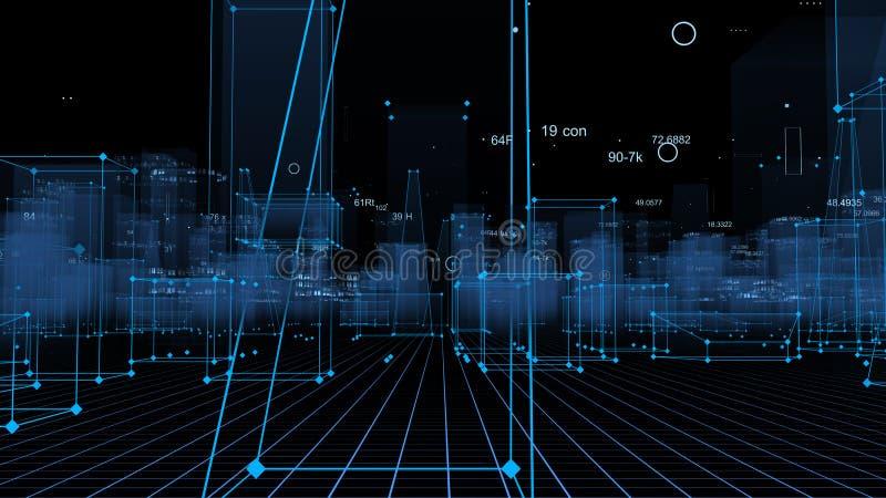 3D som framför teknologisk digital bakgrund som består av en futuristisk stad med data royaltyfri foto