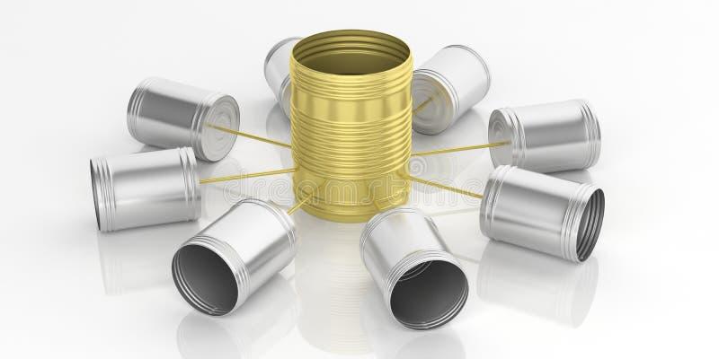 3d som framför telefonnätverket för tenn- cans stock illustrationer