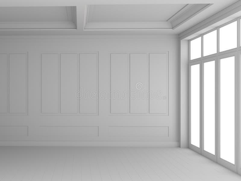 3d som framför tomt vitt rum stock illustrationer