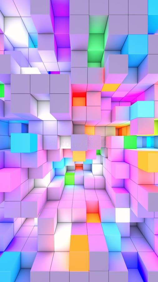 3D som framför vertikala abstrakta kuber för bakgrundsfärgljus stock illustrationer
