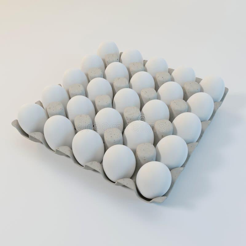 3d som framför vita ägg i en lådapacke royaltyfri bild