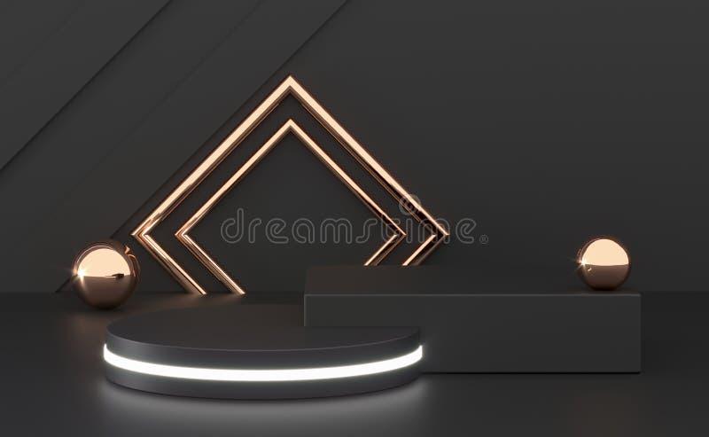 3D som framf?r svart podiumgeometri med guld- best?ndsdelar Tomt podium f?r abstrakt geometrisk form Fyrkantigt moment f?r minsta stock illustrationer