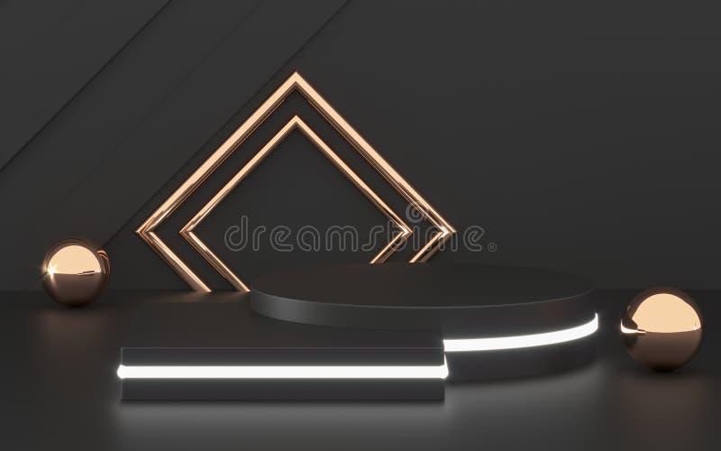 3D som framf?r svart podiumgeometri med guld- best?ndsdelar Tomt podium f?r abstrakt geometrisk form Fyrkantigt moment f?r minsta royaltyfri illustrationer