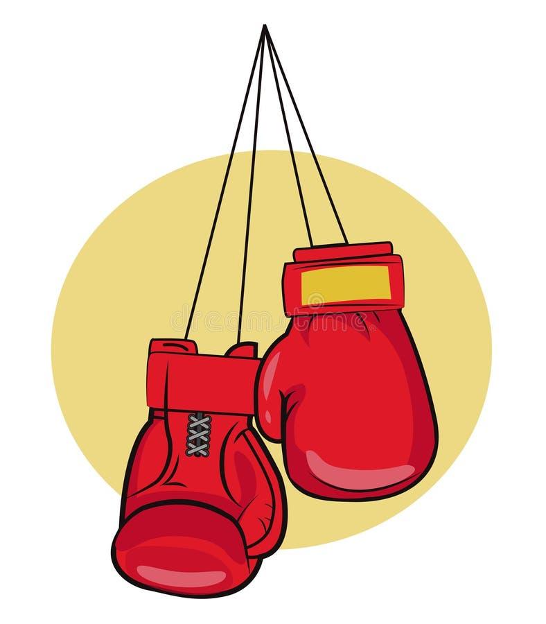 3d som isoleras på vit bakgrund Handskevektorillustrationer Symbol för boxninghandskar Boxninghandskar på en spika Handskar för u vektor illustrationer