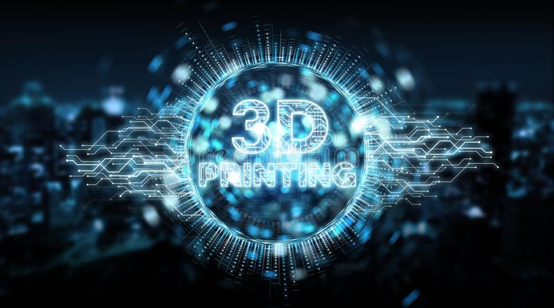 3D som skrivar ut den digitala tolkningen för texthologrambakgrund 3D stock illustrationer