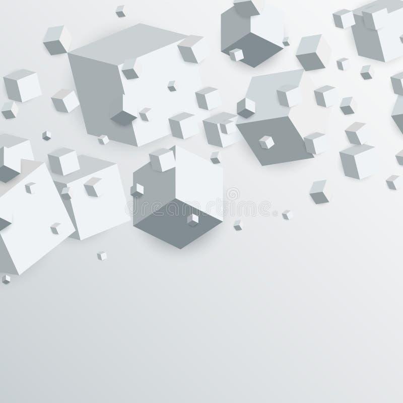 3d som svävar abstrakt bakgrund för kubaskar vektor illustrationer
