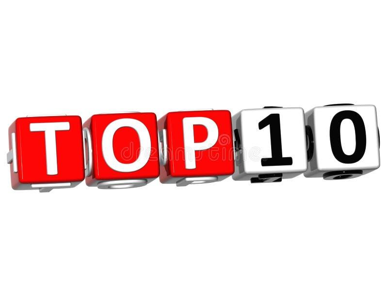 3D som topp 10 rangordnar kubtext royaltyfri illustrationer