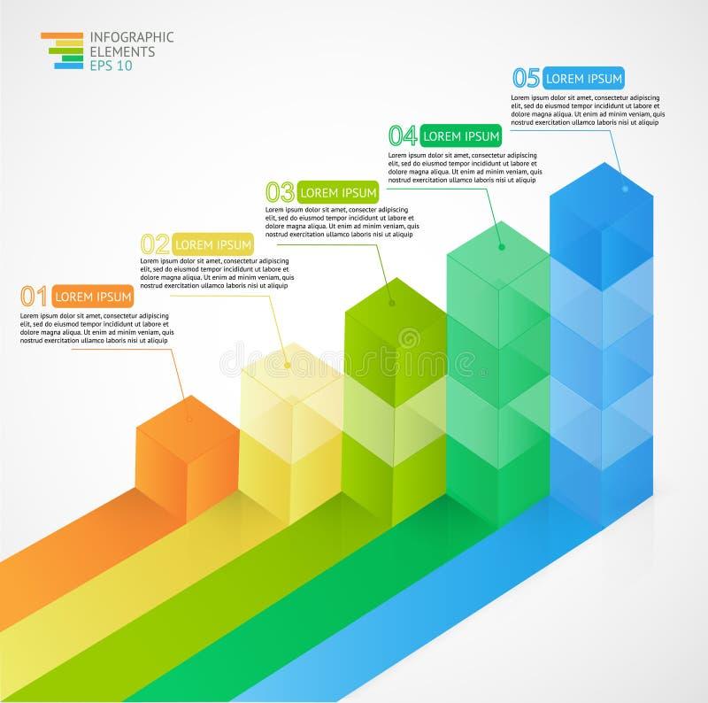 3D som växer det flerfärgade infographic stångdiagramdiagrammet för finansiellt, analytics, statistikrapporter och rengöringsdukd stock illustrationer