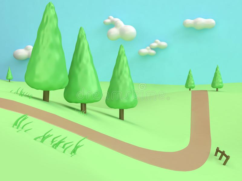 3d sosny niskiej drzewnej kreskówki natury zieleni pola wzgórza góry minimalna stylowa abstrakcjonistyczna wiejska droga royalty ilustracja